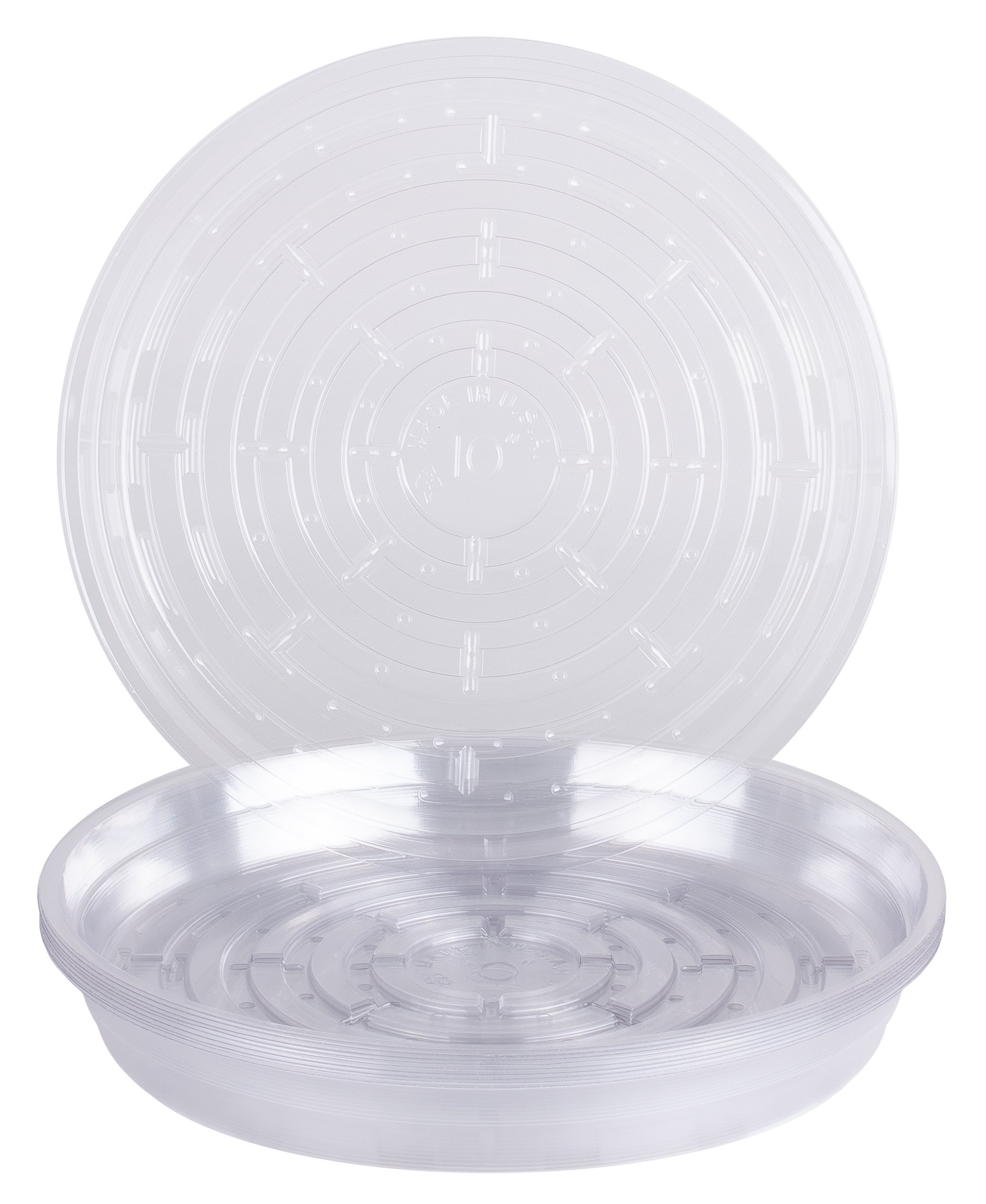 Curtis Wagner Round Clear Vinyl Plant Saucer, Pack of 10