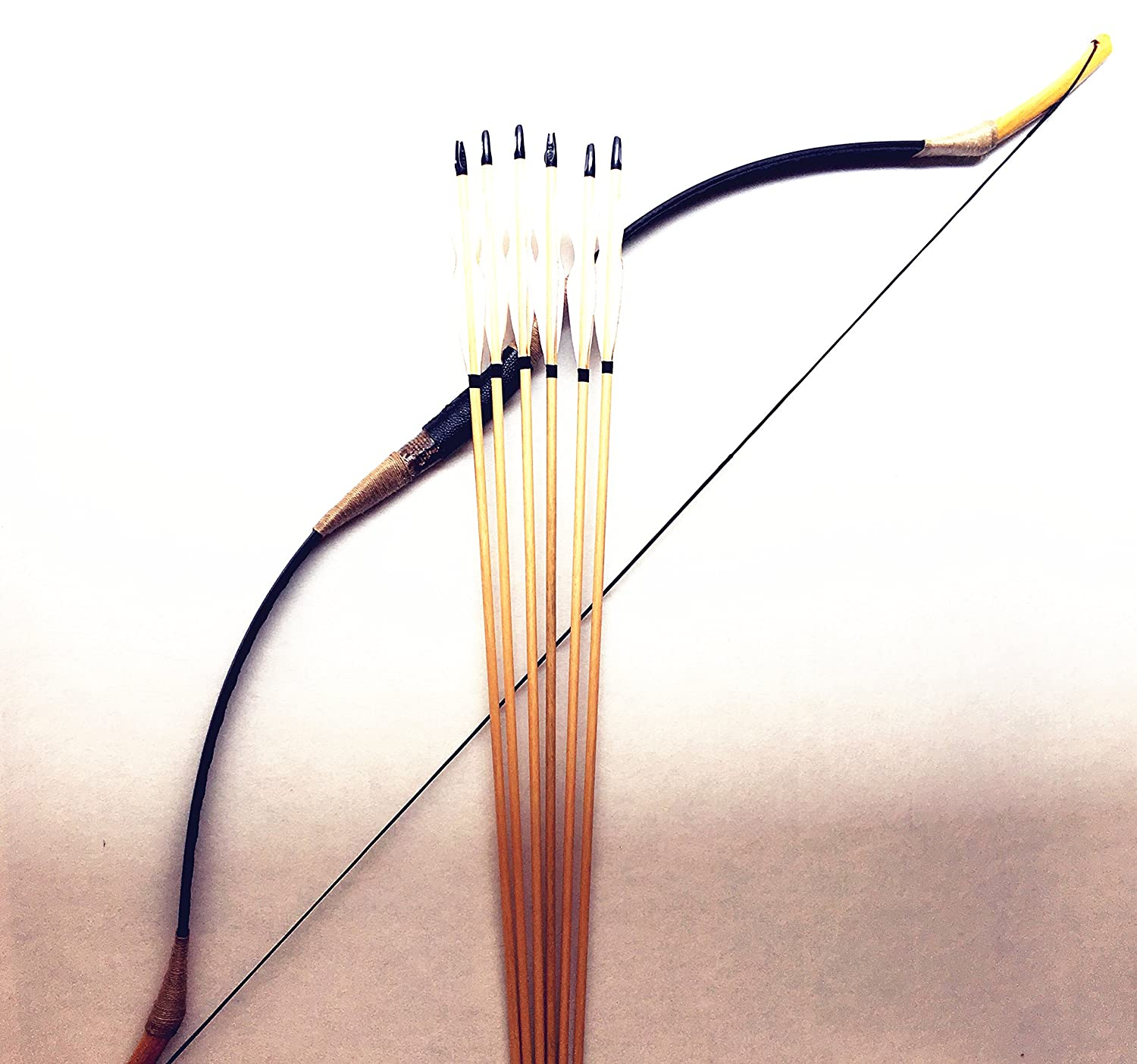 Nice Traditional Longbow 6- Wood Arrows Set - DeluxeAdultCostumes.com