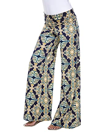 5a1f91df084a1 White Mark Women s Wide Leg Palazzo Pants Printed Paisley Jacquard in Navy  Blue Yellow - Small