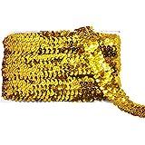 Mandala Crafts 弹性亮片,扁平闪光贝利织物丝带,金属贴花花边蕾丝,装饰连衣裙装饰,头带 金色 1英寸 Sequin Stretch