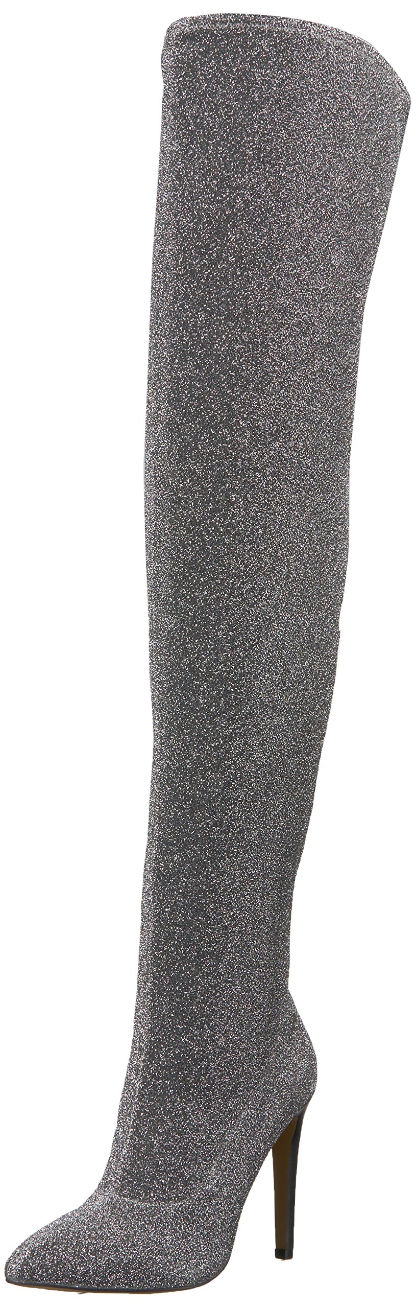 The Fix Women's MIA Pointed-Toe Thigh-High Sock Boot, Pewter, 10 B US