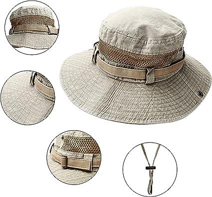 Sombrero de verano Ancho Brim Hombres, ligero y transpirable Sombrero de Pescador con protección UV, Gorros de pescador con remates cosidos ajustable ...