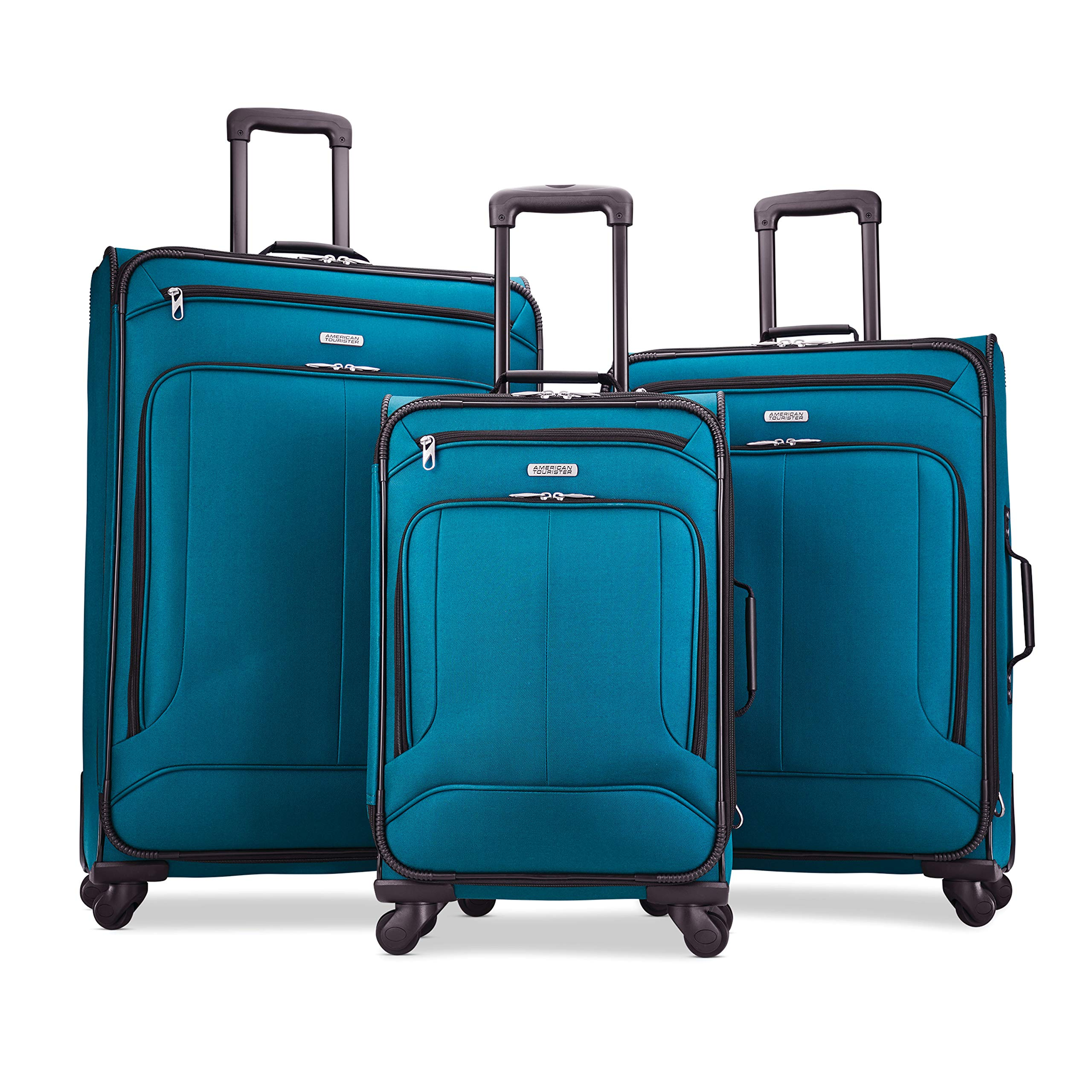 American Tourister Pop Max 3-Piece Softside (sp21/25/29) Luggage Set with Spinner Wheels, Teal by American Tourister