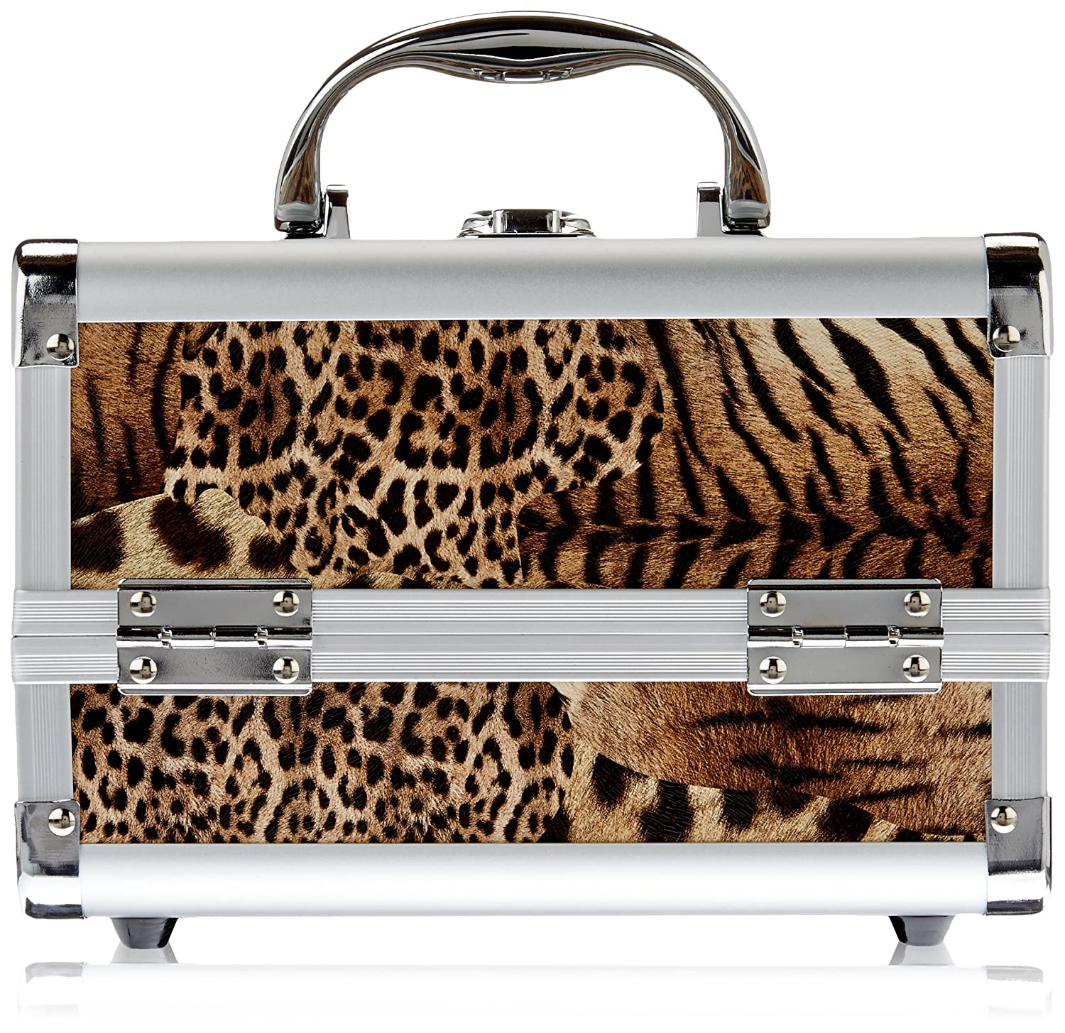 Just Case Mini Makeup Cosmetic Train Case Organizer Storage Easy Clean with 2-Tray and Mirror, Leopard, 1-Count M1001LPBR
