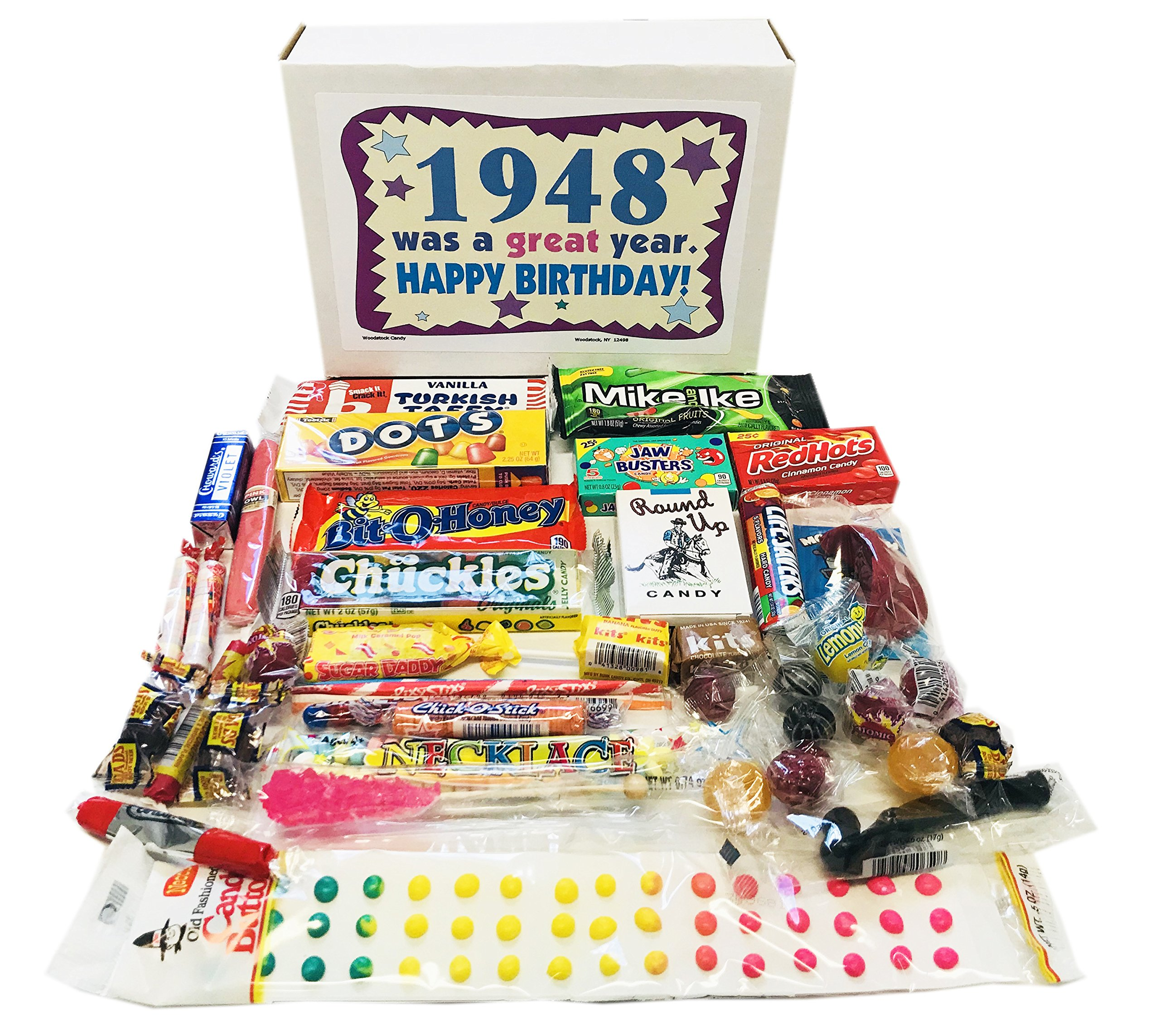 Woodstock Candy ~ 1948 71st Birthday Gift Box Nostalgic Retro Candy Mix from Childhood for 71 Year Old Man or Woman Born 1948 Jr