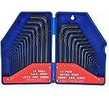 WORKPRO W022018A 30-Piece Hex Key Set w/ Plastic Box, SAE & Metric, Chrome-Vanadium Steel