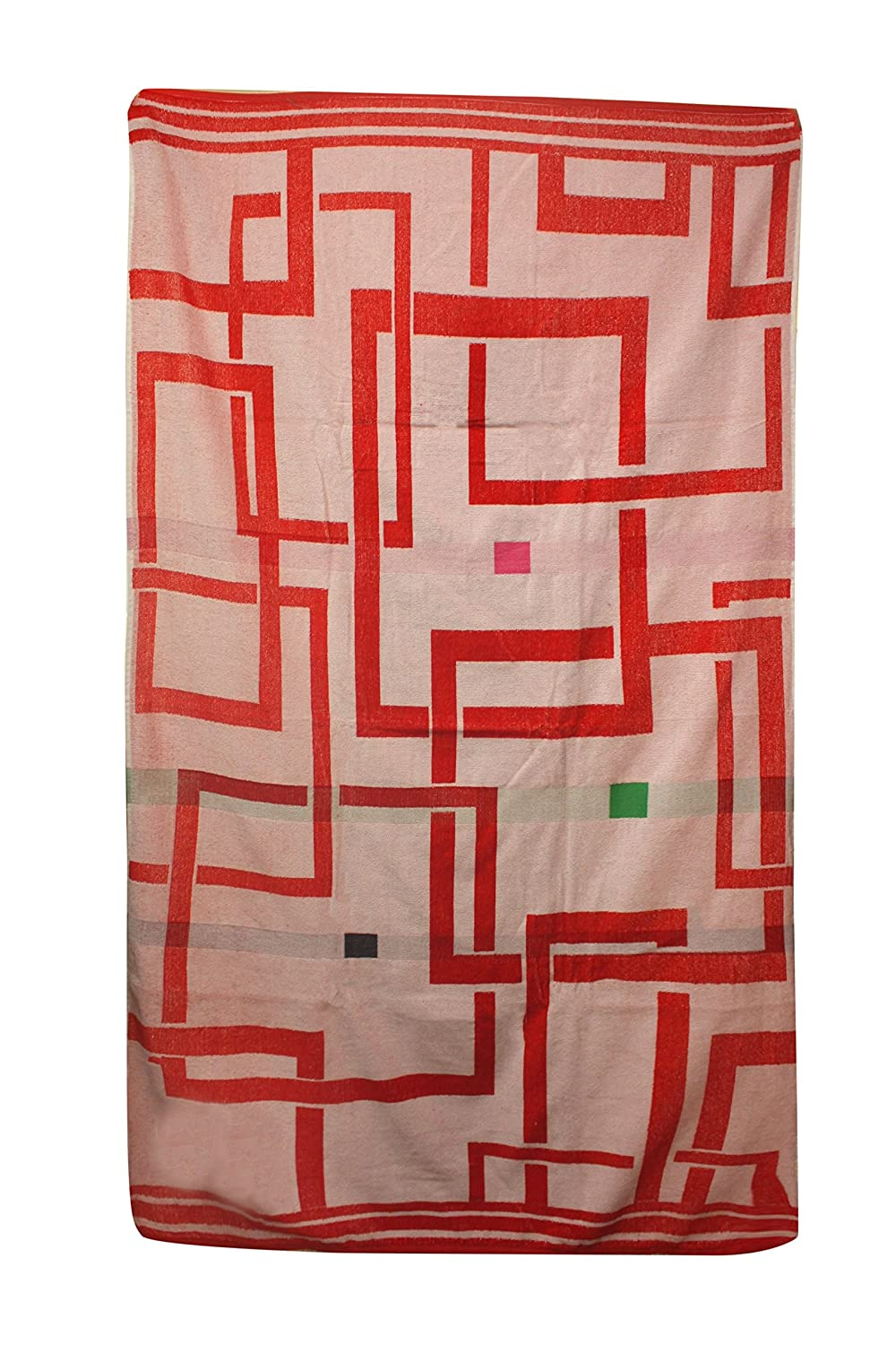 70621 40 by 70-Inch Ayuverdic Mystical Pours in Red Northpoint Trading Inc Northpoint Kerala Oversized Double Jacquard Plush Velour Beach Towel
