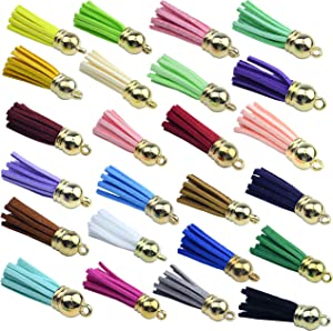 50pcs Gold Cap Tassel Faux Suede Tassel Pendants Tassel Charm with CCB Cap for Keychain Cellphone Straps Jewelry Charms (Mixed, 2.15 inch)