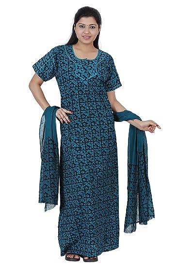 370df65342 JISB Batik Print nighty with Dupatta shawl
