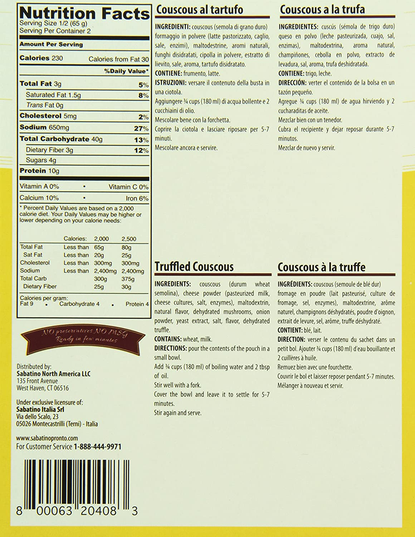 SABATINO PRONTO Truffle Couscous, 4.6 Ounce