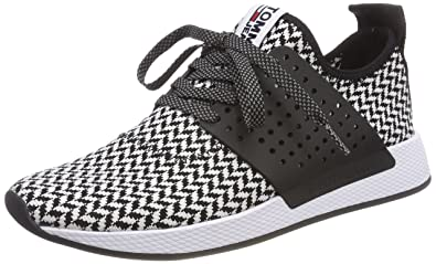 d4d0febc2a Hilfiger Denim Herren Tommy Jeans Check Knit Sneaker, Schwarz (White-Black  904)