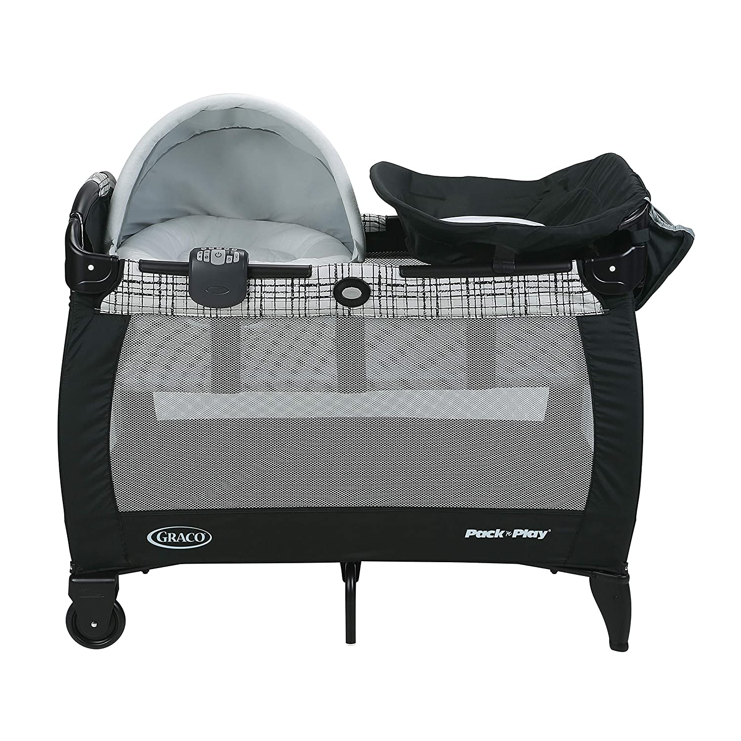 Graco Pack n Play Newborn Napper Playard with Soothe Surround Technology Includes Newborn Napper, Full-Size Infant Bassinet, and Diaper Changer, Teigen