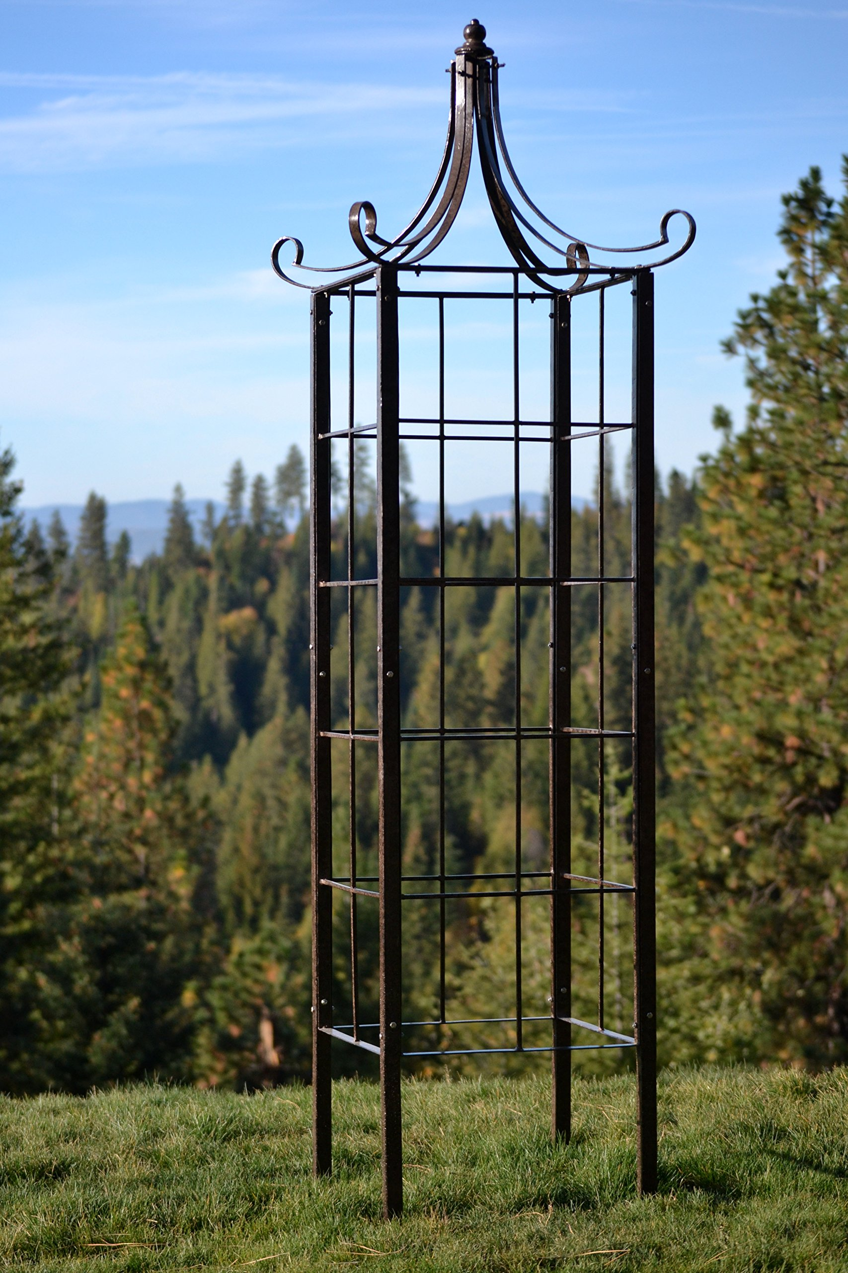 H Potter Trellis Wrought Iron Ornamental Large Garden Obelisk for Climbing Plants by H Potter