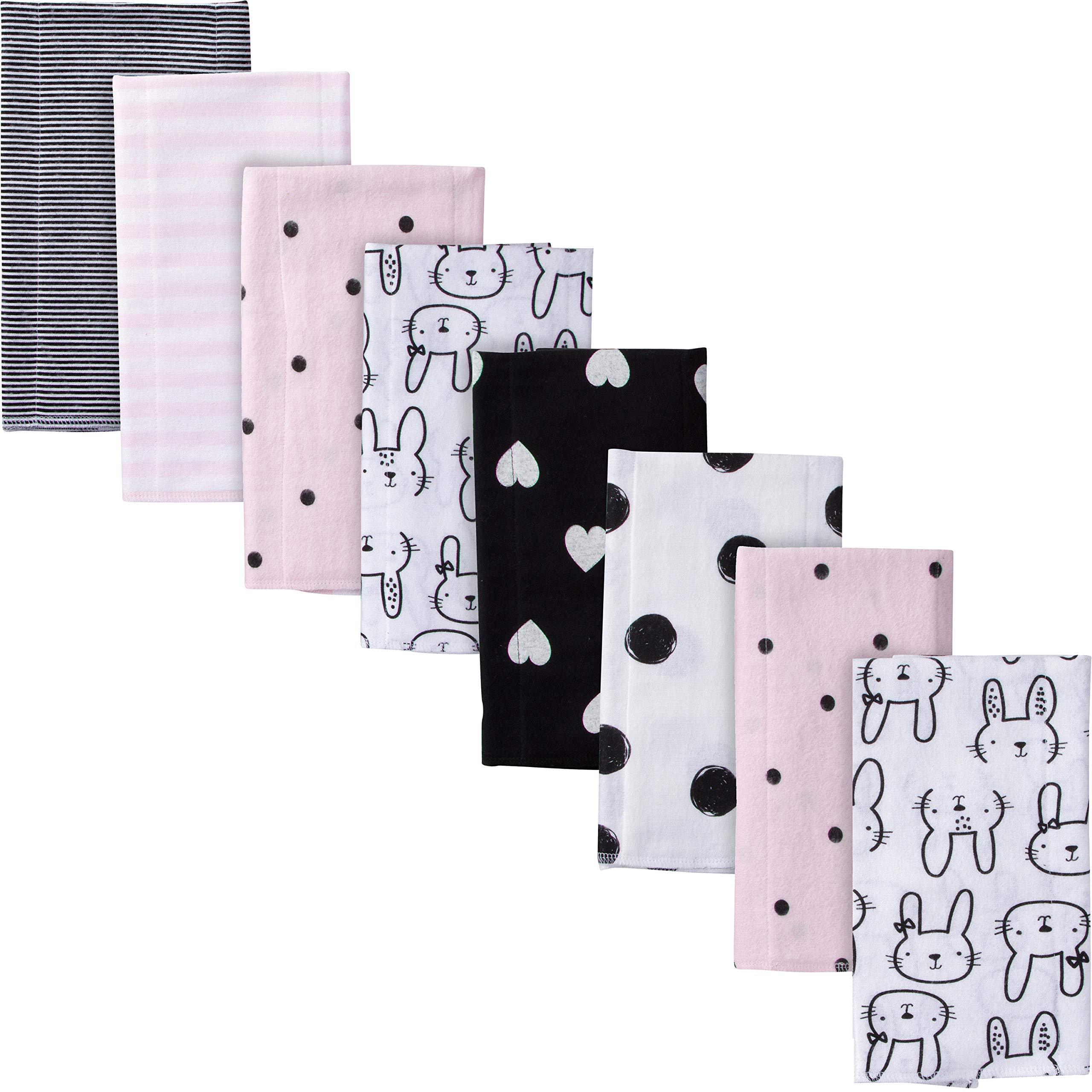 Gerber Baby Girls' 8-Pack Flannel Burp Cloth, Bunny, 20'' x 14''