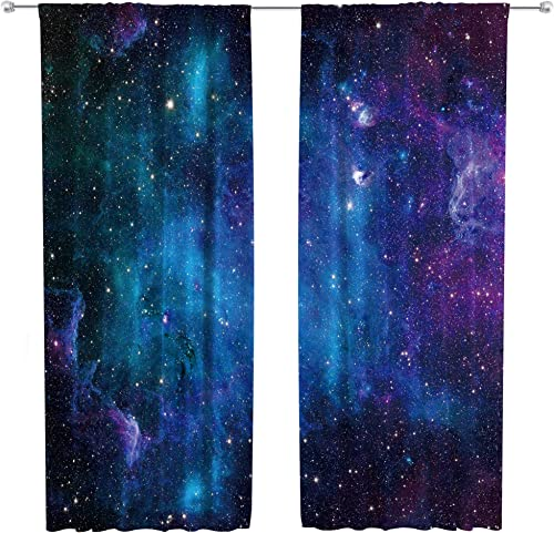 Riyidecor Outer Space Curtains Rod Pocket Galaxy Universe Blue Black Psychedelic Planet Nebula Starry Sky Astronomic Living Room Bedroom Window Drapes Treatment Fabric 2 Panels 52 x 84 Inch
