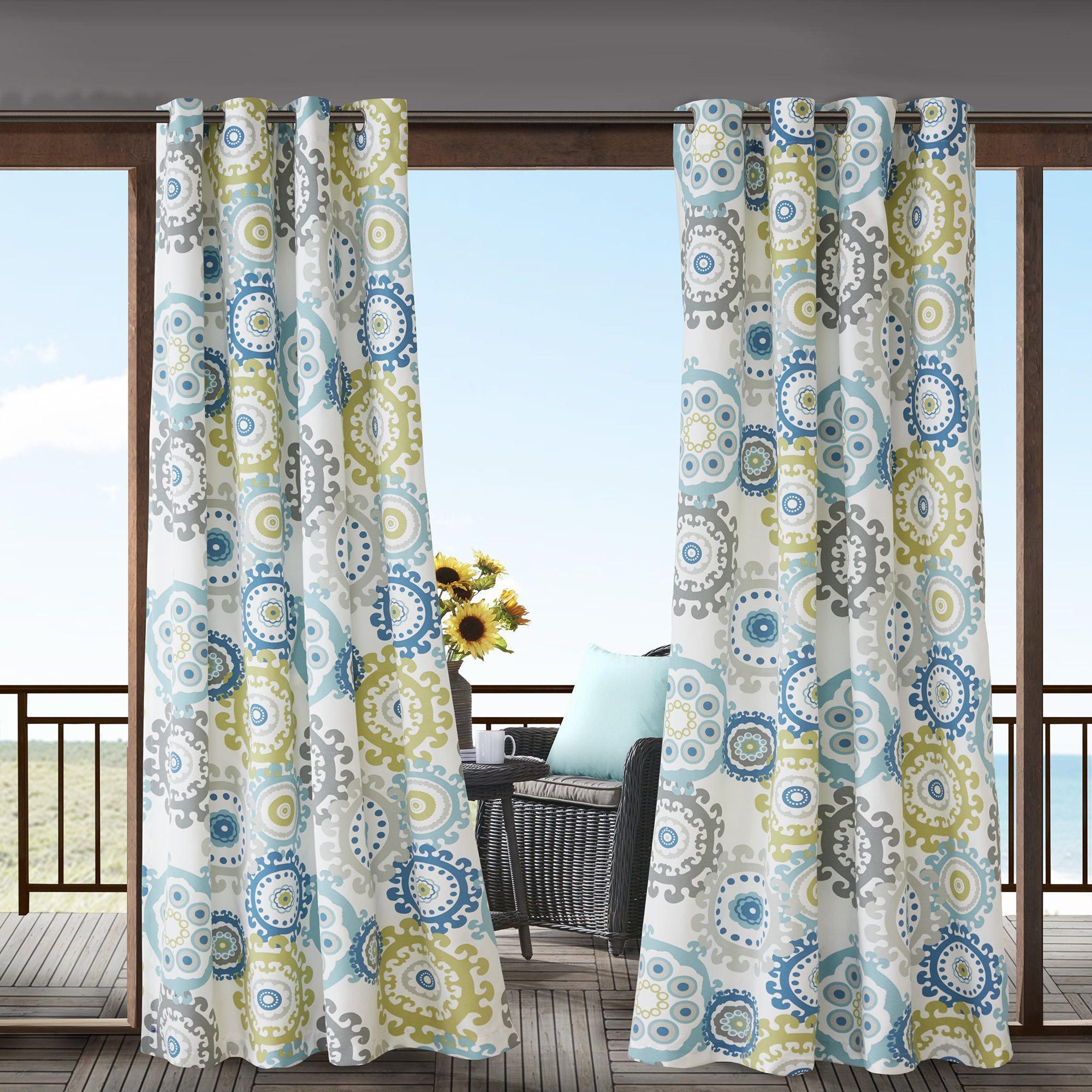 1 Piece Blue Medallion Gazebo Curtain Panel 95 Inch, Gold Floral Print Outdoor Curtain Light Blocking For Patio Porch, Water Resistant Indoor/outdoor Drape Pergola Garden Sunroom Grommet, Polyester