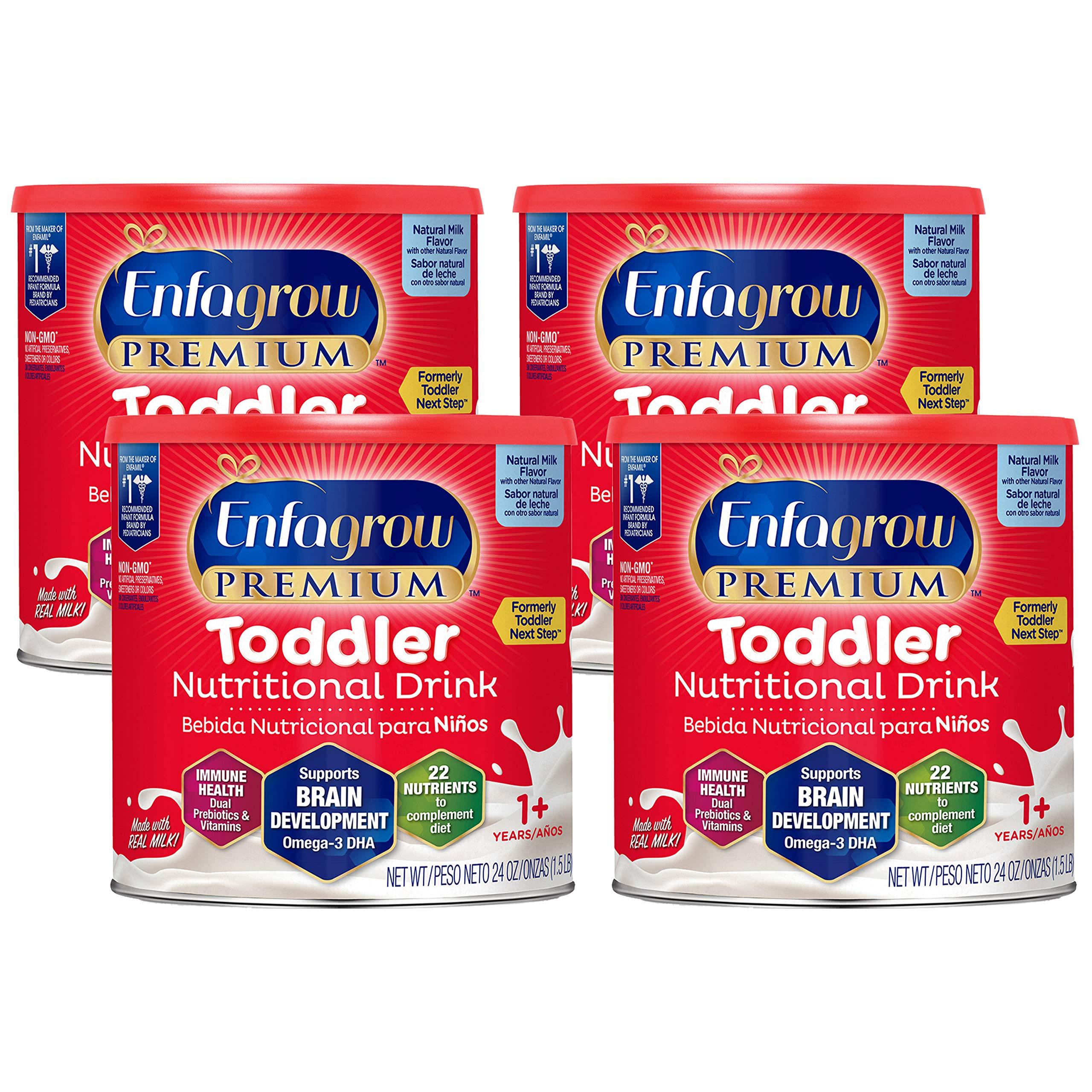 Enfagrow PREMIUM Toddler Nutritional Drink, Natural Milk Flavor, Omega-3 DHA & MGFM for Brain Support, Prebiotics & Vitamins for Immune Health, Non-GMO, Powder Can, 24 Oz (Pack of 4)
