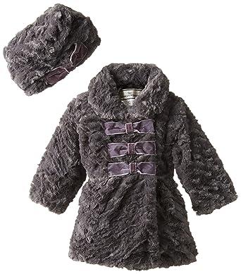 Amazon.com  Widgeon Baby-Girls Infant 3 Bow Faux Fur Coat and Hat ... 2aa59d5a9b5