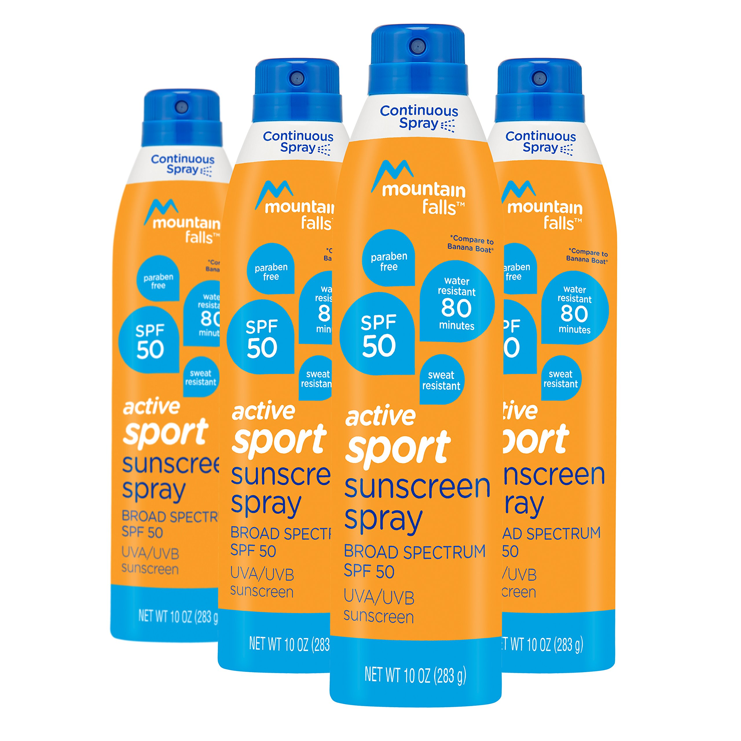 Mountain Falls Active Sport Sunscreen Continuous Spray, SPF 50 Broad Spectrum UVA/UVB Protection, Compare to Banana Boat, 10 Ounce (Pack of 4)