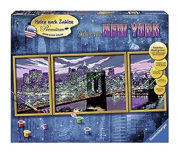 Ravensburger 28951 Skyline Von New York Malen Nach Zahlen Premium Triptychon 100 X 40 Cm