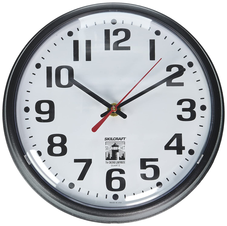 Amazon Com Self Set Wall Clock Plastic Slimline Frame 9 1 4 Diameter Black Case White Face Industrial Scientific