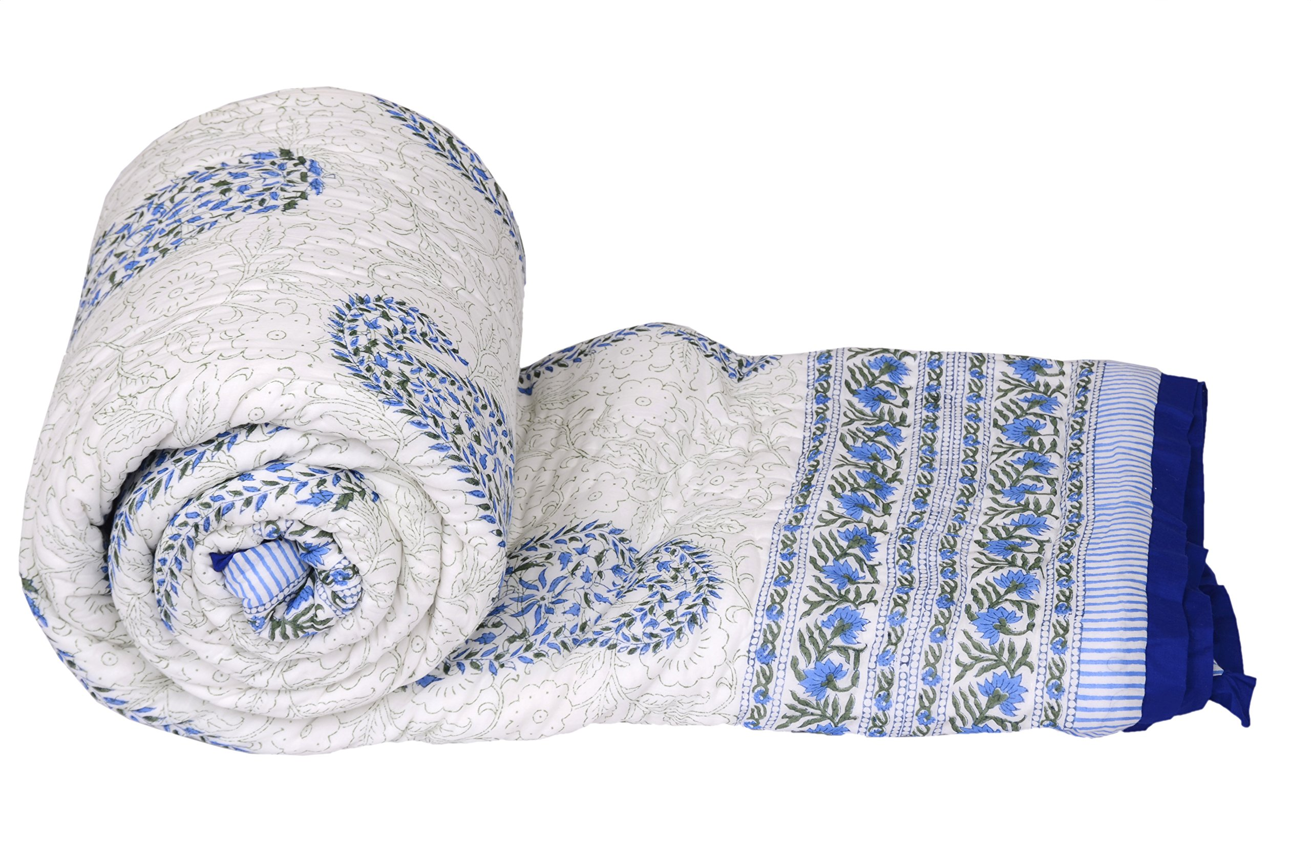 Paisley Quilt Handcrafted In India With Hand Block Printing- 100% Cotton, Super Soft, Size- 90 x 108 Inches, King Size