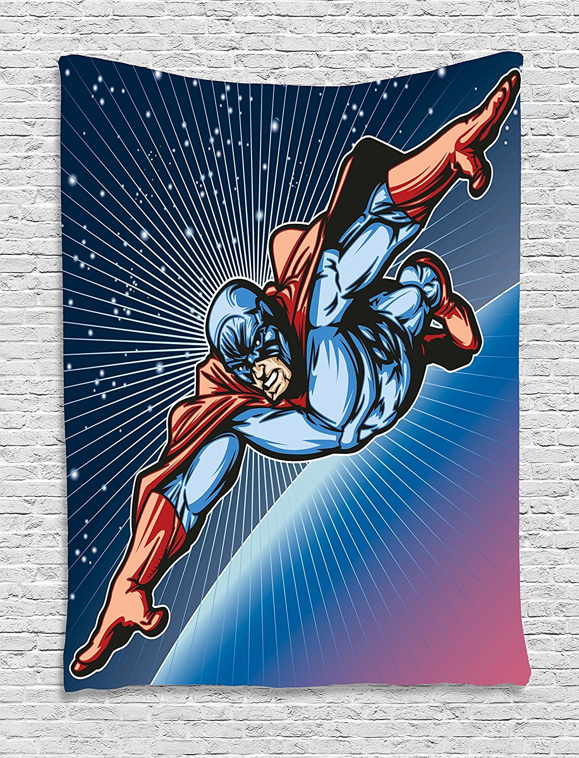 Superhero Tapestry, Brave Masked Hero Flying on Galaxy Mission Protecting the Universe Image, Wall Hanging for Bedroom Living Room Dorm, 60 W X 80 L Inches, Violet Blue Red
