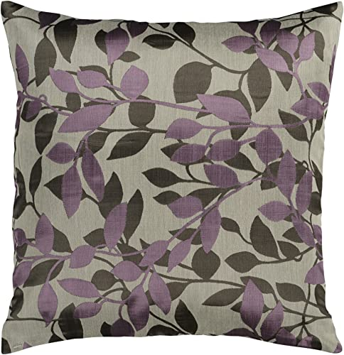 Artistic Weavers HH-062 Hand Crafted 88 Polyester 12 Polyamide Plum 18 x 18 Floral Decorative Pillow