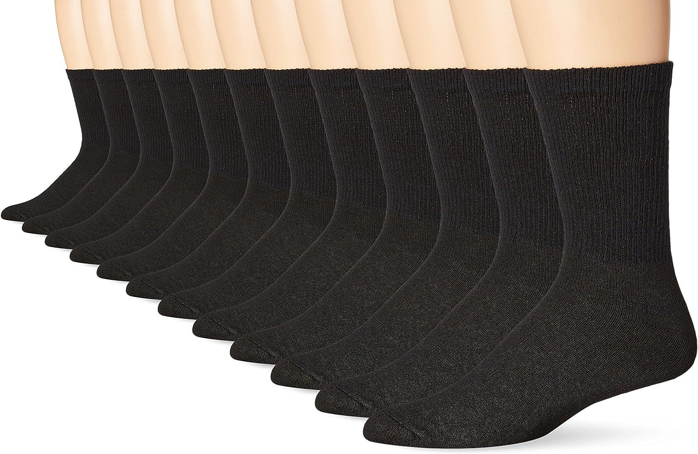 Hanes Men's 12-Pack FreshIQ Odor Control Protection Crew Socks
