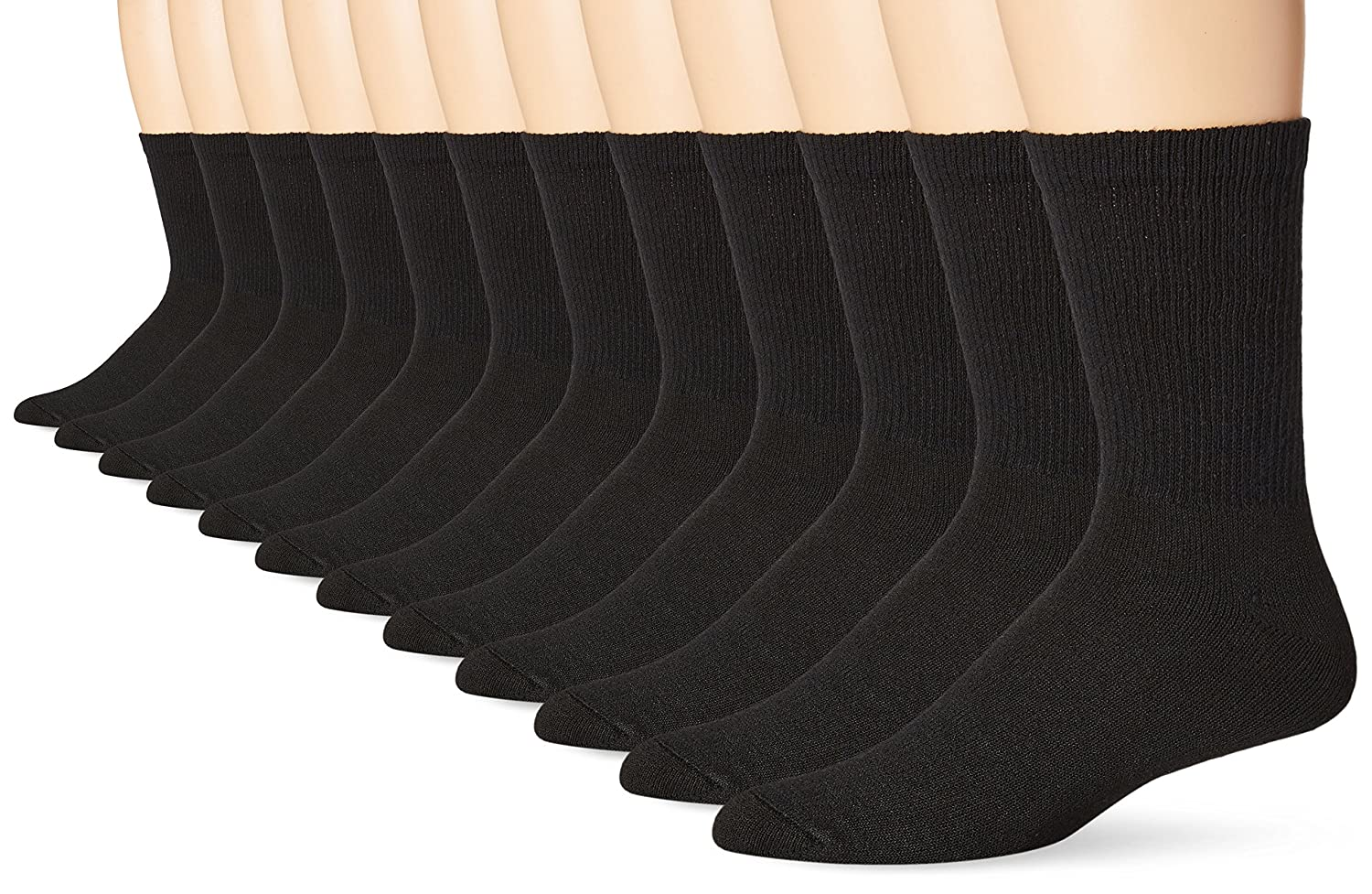 Hanes Men's 12 Pack Crew Socks, Black, 10-13/Shoe Size 6-12 Hanes Men' s Socks 184V13