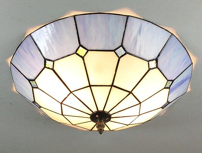 ETERN 16 Inch European Retro Style Mediterranee Blue Stained Glass