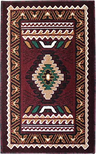 Rugs 4 Less Collection Southwest Native American Indian Door Mat Area Rug Design R4L 143 Burgundy Maroon 2 x3 4