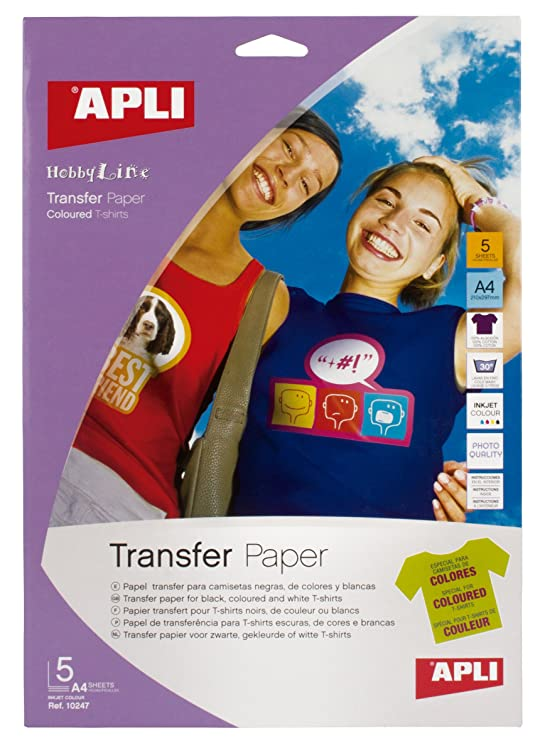 Apli 724049 - Bolsa con 5 hojas de papel de transferencia térmica   Amazon.es  Oficina y papelería a7f9ab8121507
