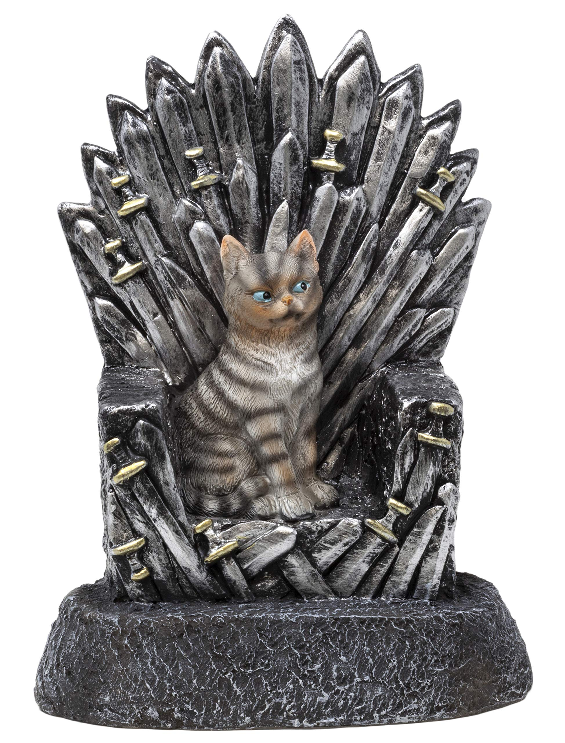 Funny Guy Mugs Cat On A Throne Garden Gnome Statue- Indoor/Outdoor Garden Gnome Sculpture Patio, Yard Lawn by Funny Guy Mugs