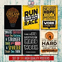 Combo of 6 Motivational Posters | Inspirational Quotes and Designs for Home, Work, Study Room. 12x18 inches Unframed