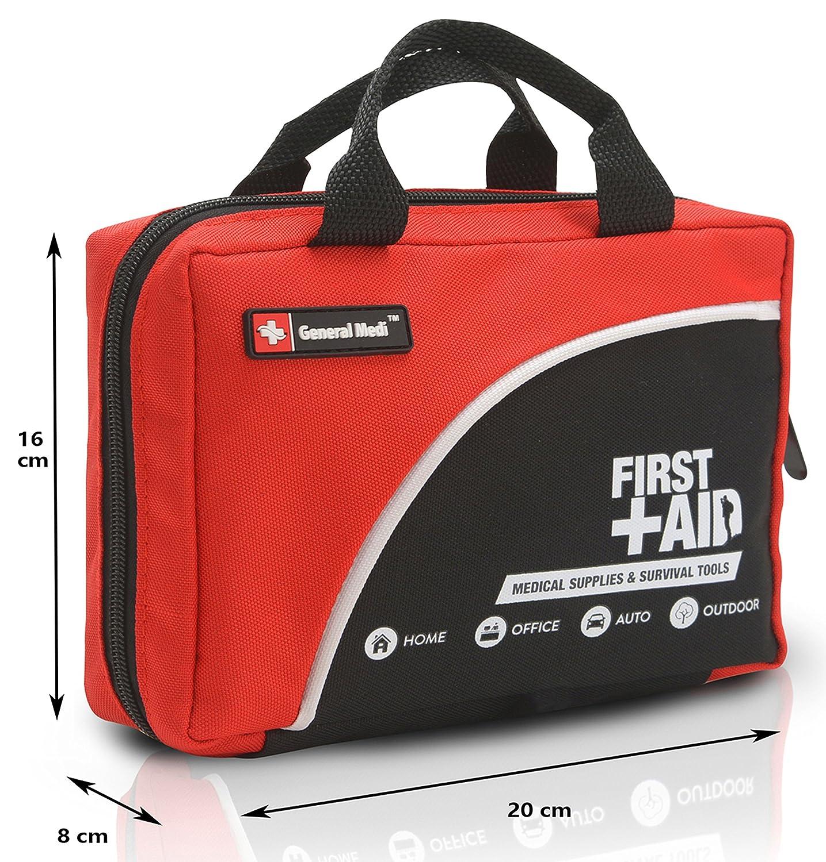 Paquete de primeros auxilios de 160 piezas - Incluye paquete frío (hielo), manta de emergencia, brillo, compás, tijeras (Rojo): Amazon.es: Salud y cuidado ...