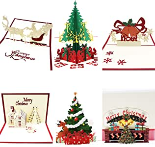 Amazon.com : 3D Christmas Cards Pop Up Greeting Cards for ...