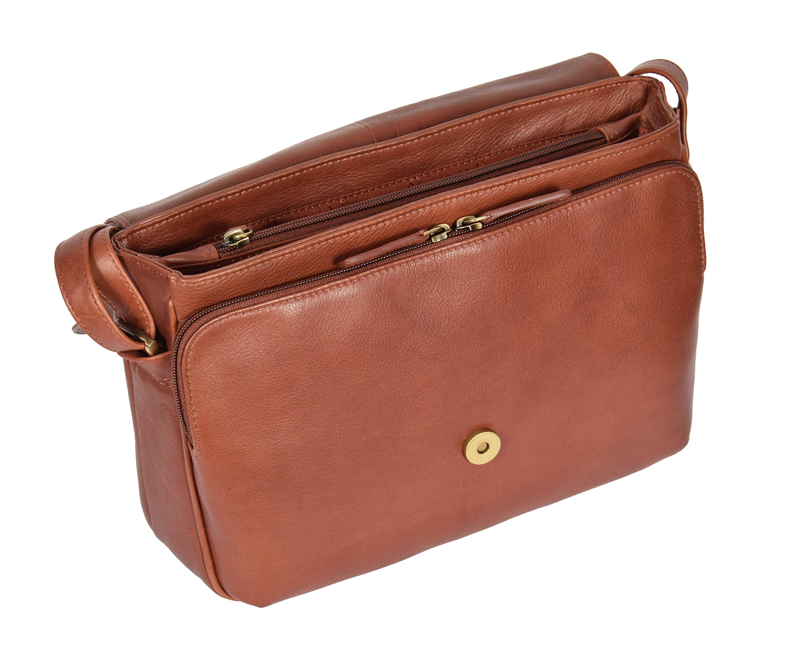Womens Brown Shoulder Leather Organiser Cross Body Work Messenger Bag A190 by A1 FASHION GOODS (Image #5)