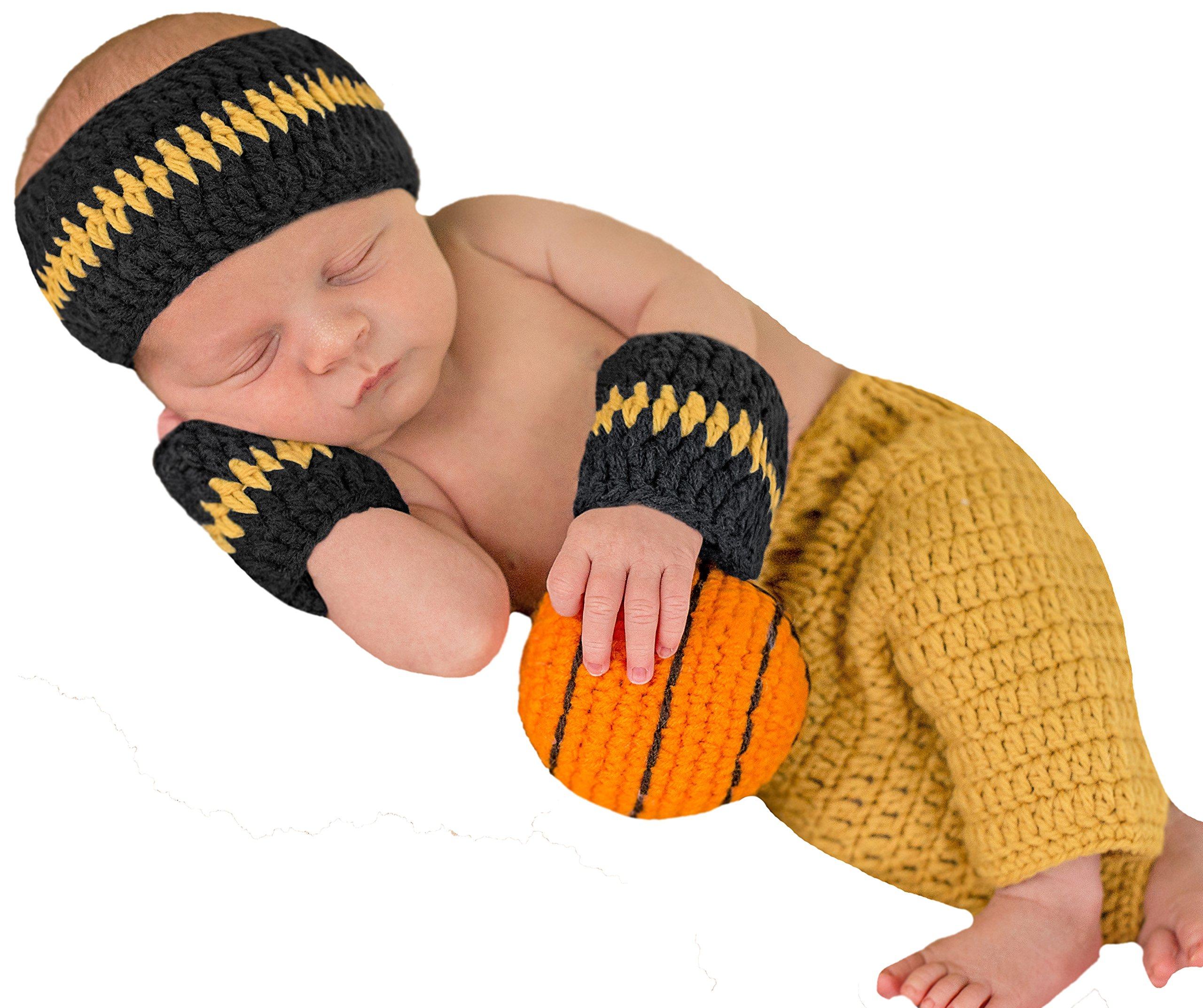Melondipity Baby Boys Basketball Set - Sweatband, Wristband, Shorts and Ball by Melondipity Baby Hats (Image #1)
