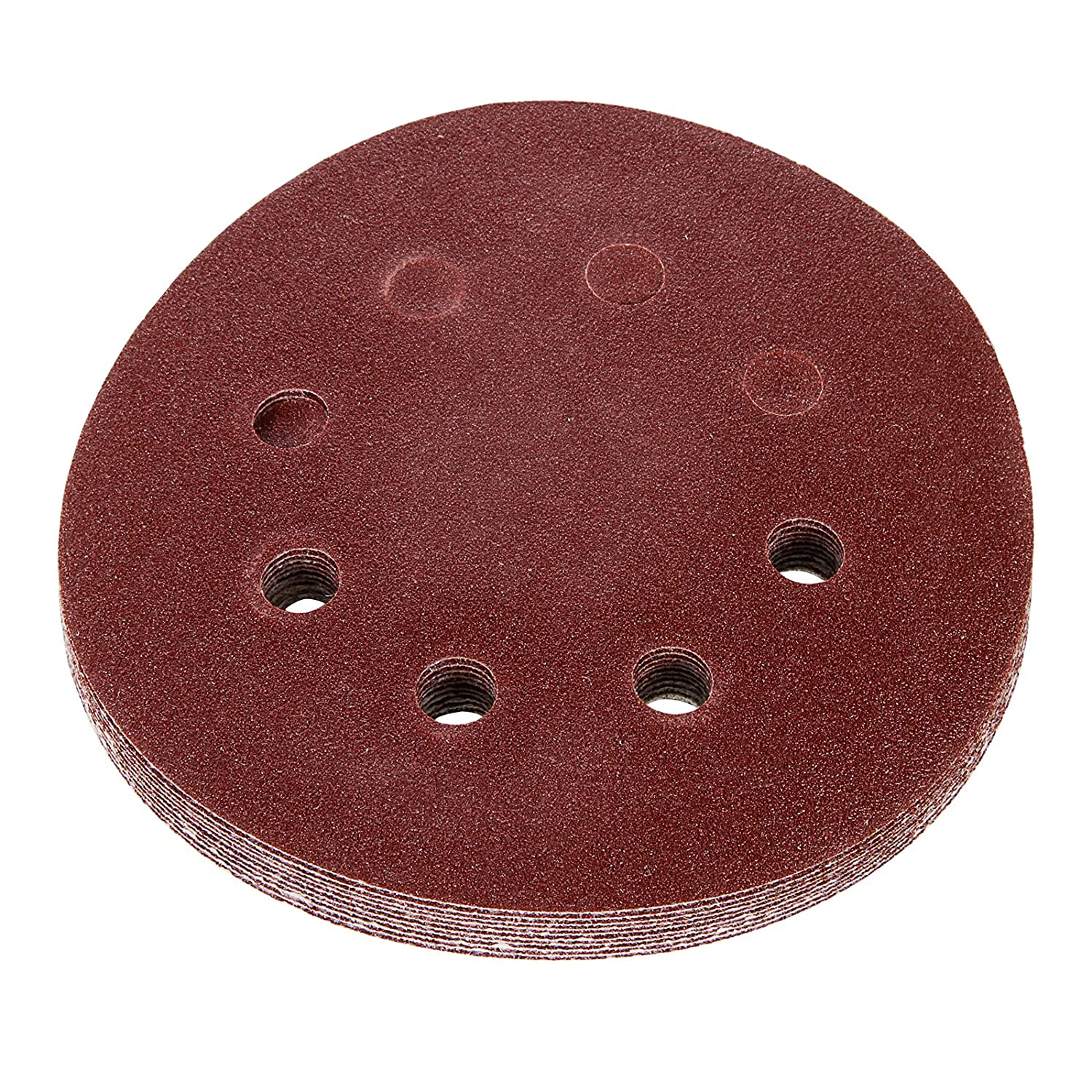 Anmas 100pcs// 5-Inch 8-Hole 120 Grit Dustless Hook and Loop Sanding Disc Backing Pads Sander Paper Assorted Sandpaper 1 Box