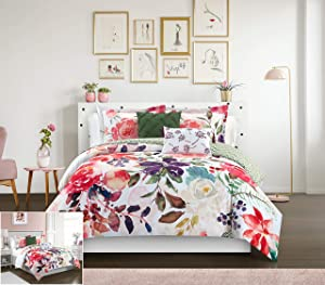 Chic Home Philia 5 Piece Reversible Comforter Set Floral Watercolor Design Bedding - Decorative Pillows Shams Included, Queen, Multi Color