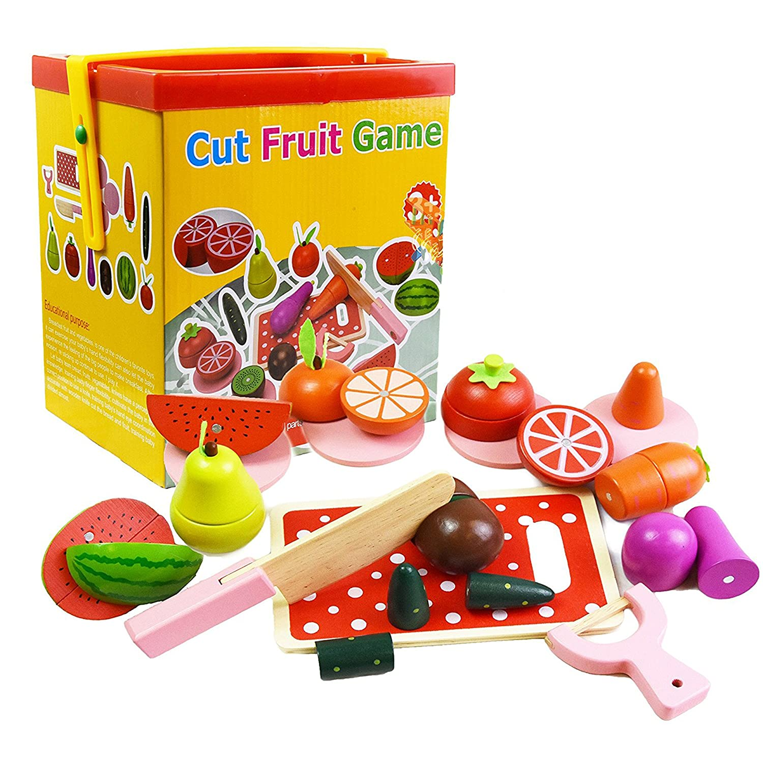 Cut fruits game - Wooden Magnetic Cut Fruit Veg Blocks Pretend Kitchen Play Food Cutting Toy Amazon Co Uk Toys Games