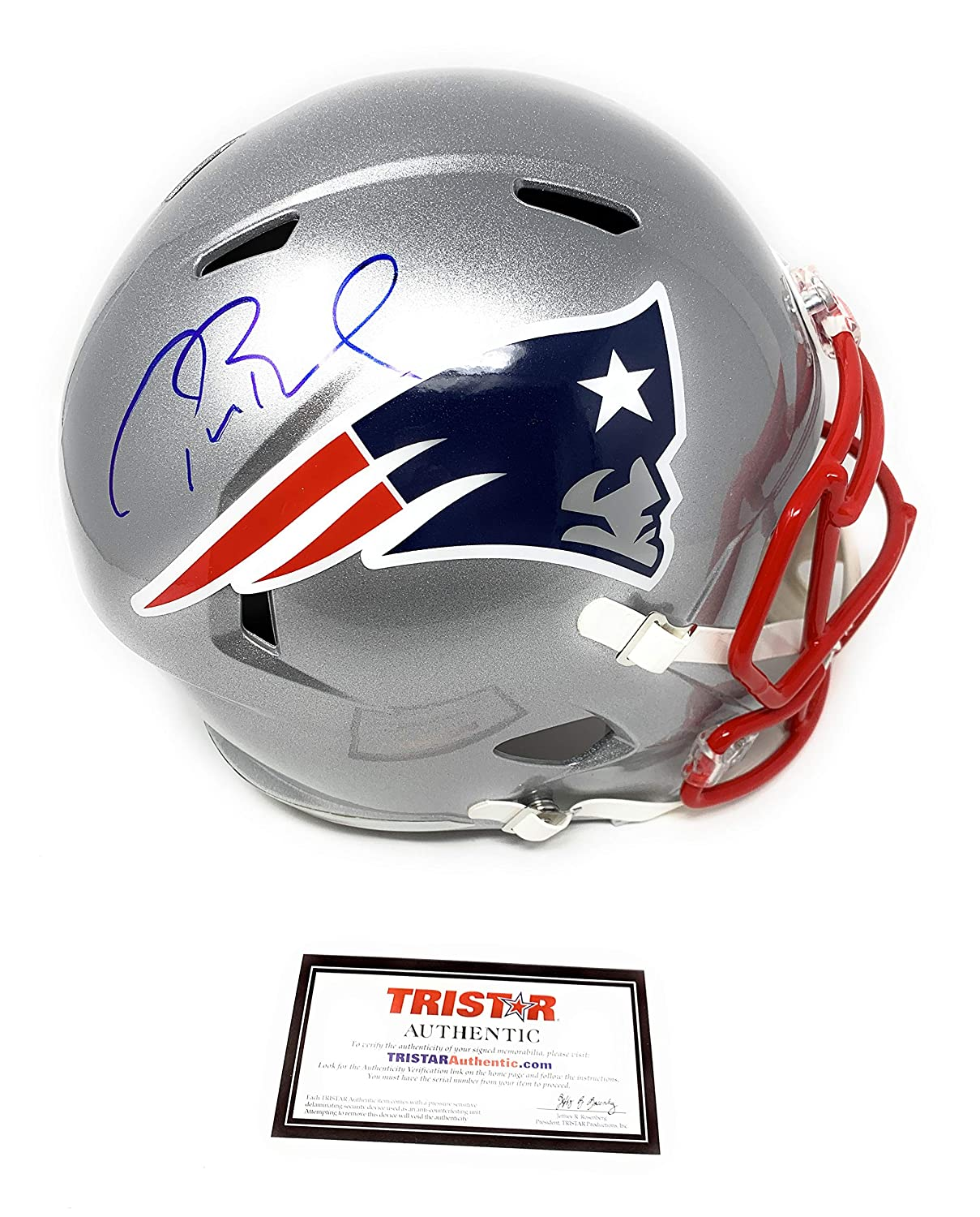 Tom Brady New England Patirots Signed Autograph Full Size Replica Speed Helmet Tristar Authentic Certified