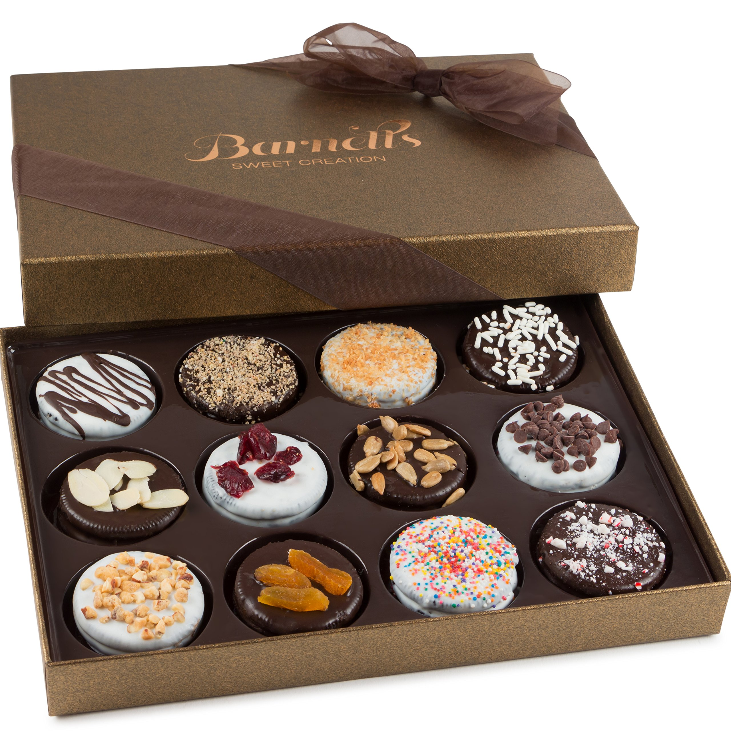 Barnett's Chocolate Cookies Gift Basket, Gourmet Christmas Holiday Corporate Food Gifts in Elegant Box, Thanksgiving, Halloween, Birthday or Get Well Baskets Idea for Men & Women, 12 Unique Flavors by Barnett's Fine Biscotti