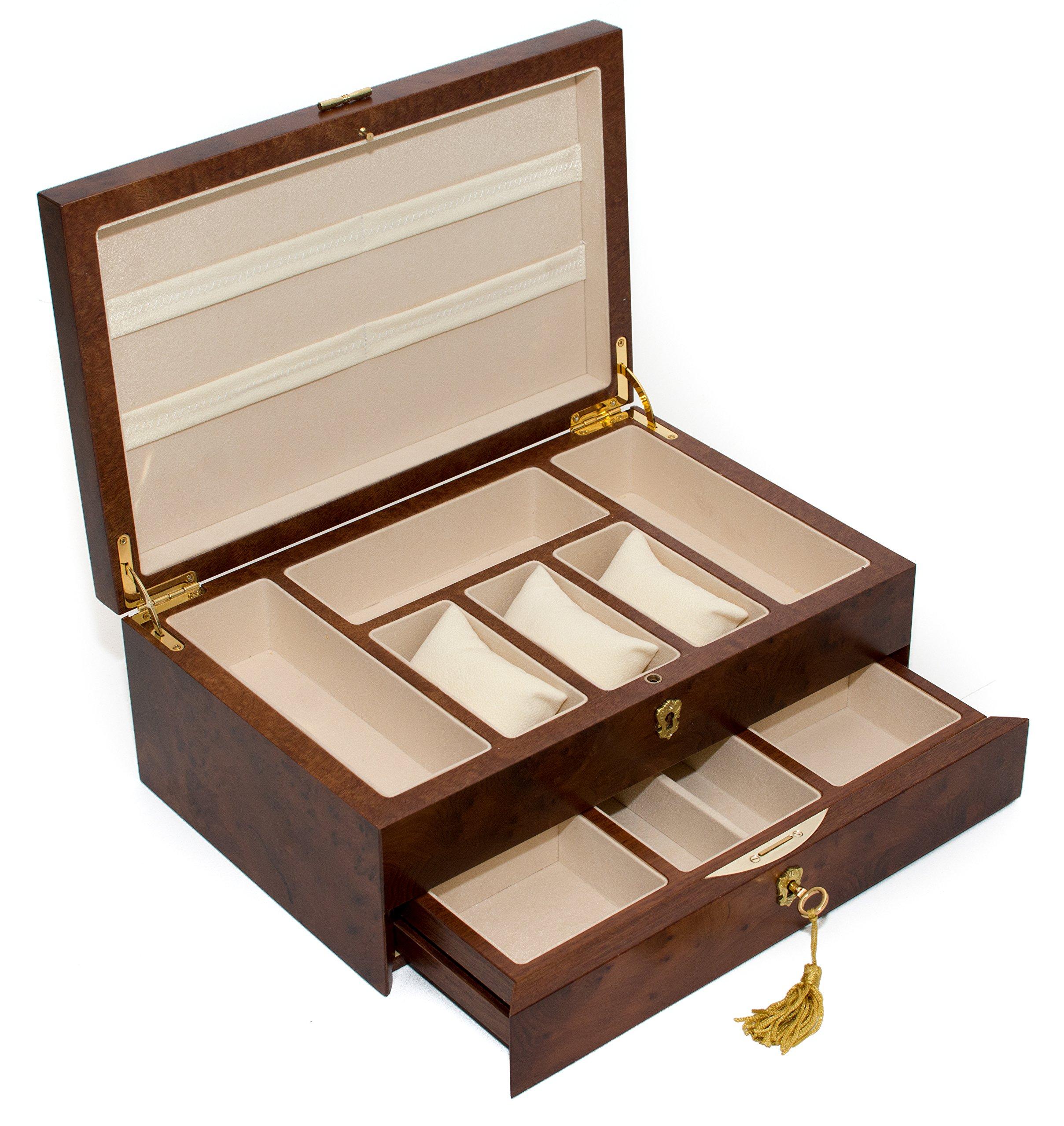 Bello Collezioni - Via Del Corso Luxury Briar Wood Men's/Women's Jewelry Box. Made in Italy by Bello Games New York, Inc. (Image #2)