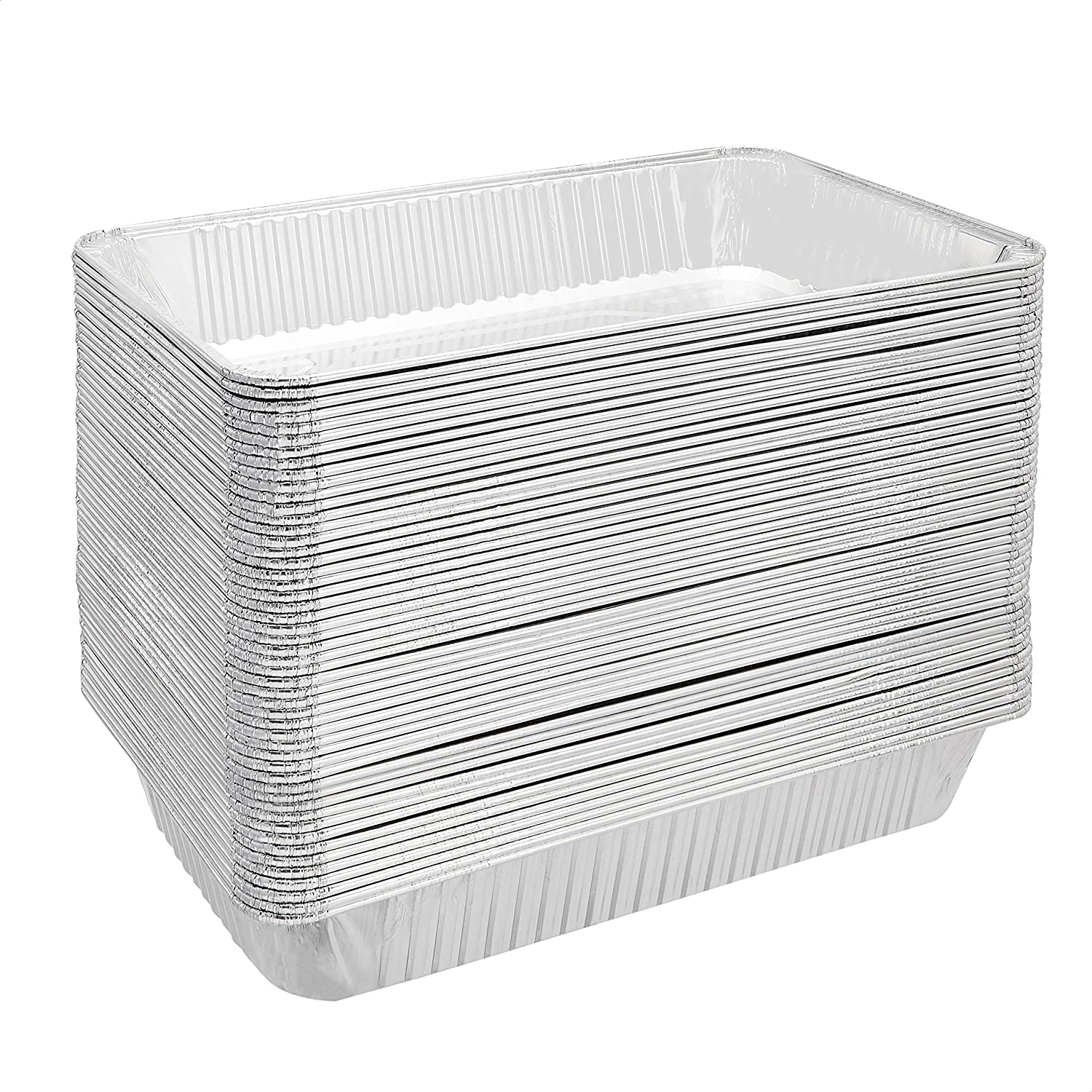 AmazonCommercial Aluminum Foil Steam Pan, Full Size, Pack of 50