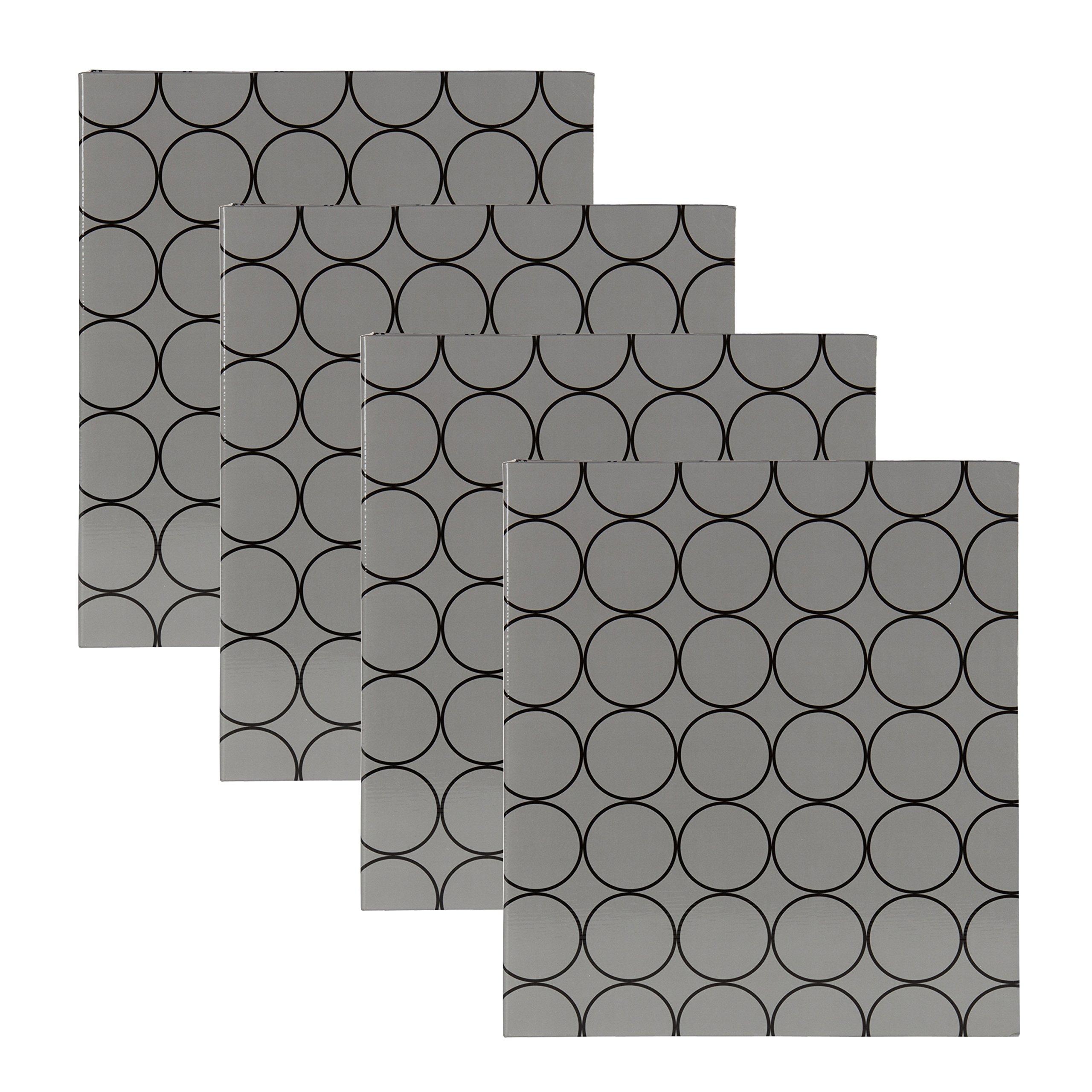 DesignOvation Patterns Black and Gray Photo Album, Holds 440 4x6 Photos, Set of 4