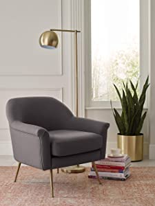 Elle Decor Ophelia Lounge, Mid-Century Modern Accent Chair with Brass Metal Legs, Fabric Upholstered Armchair for Living Room, Easy Assembly, Charcoal