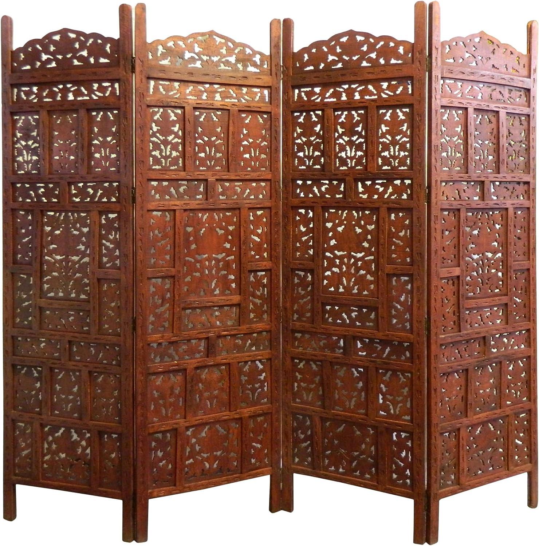 Paravent Jaipur 17 x 17 cm Mangobaumholz Indische Trennwand Raumteiler  Möbel Wohnzimmer