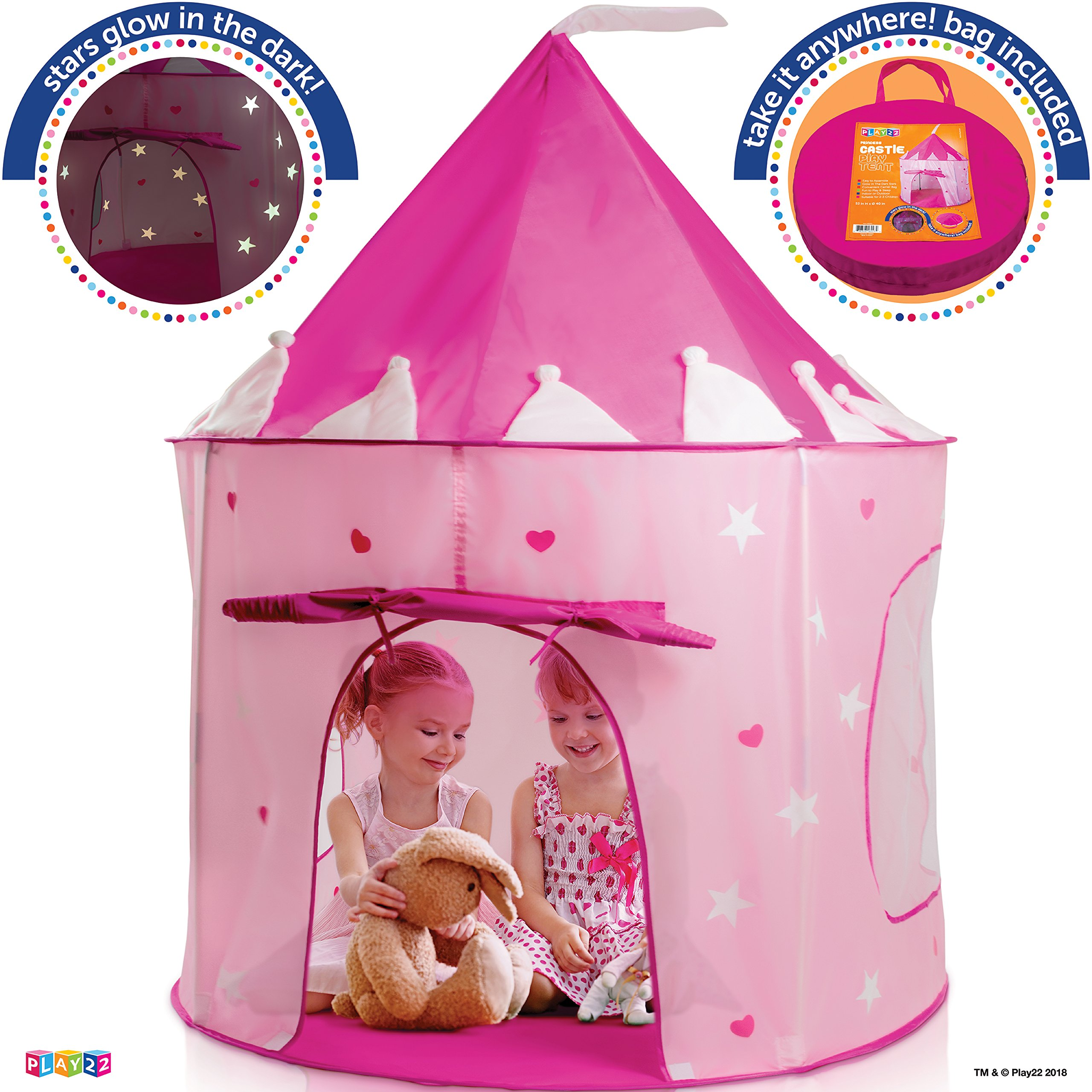 Play22 Play Tent Princess Castle Pink - Kids Tent Features Glow in The Dark Stars - Portable Kids Play Tent - Kids Pop Up Tent Foldable Into A Carrying Bag - Indoor and Outdoor Use - Original